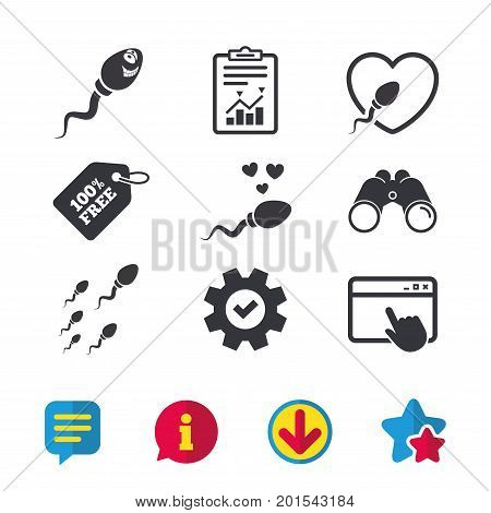 Sperm icons. Fertilization or insemination signs. Safe love heart symbol. Browser window, Report and Service signs. Binoculars, Information and Download icons. Stars and Chat. Vector