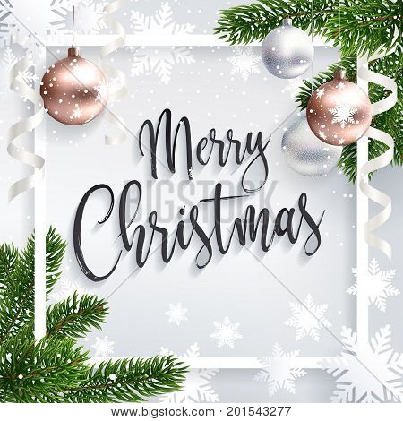 Merry Christmas inscription greeting. White festive background with typography and holidays elements. Christmas tree branches, balls rose gold and serpentine. Calligraphic script. Lettering text.