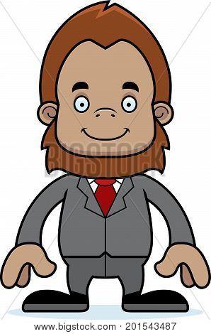 Cartoon Smiling Businessperson Sasquatch