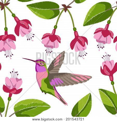 Pink fuchsia and hummingbird embroidery seamless pattern on white background. Romantic floral wallpaper, textile print.