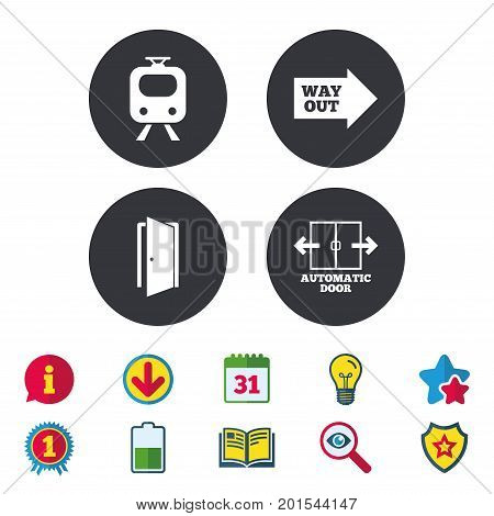 Train railway icon. Automatic door symbol. Way out arrow sign. Calendar, Information and Download signs. Stars, Award and Book icons. Light bulb, Shield and Search. Vector