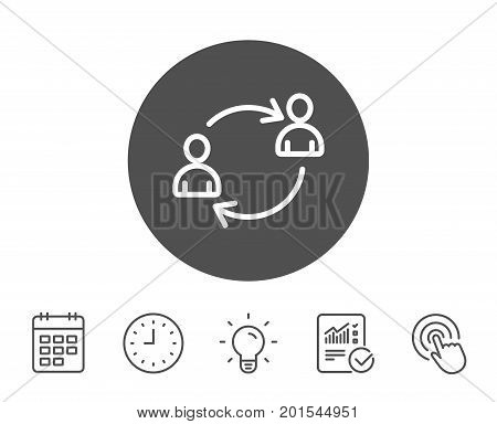 Teamwork line icon. User communication or Human resources. Profile Avatar sign. Person silhouette symbol. Report, Clock and Calendar line signs. Light bulb and Click icons. Editable stroke. Vector