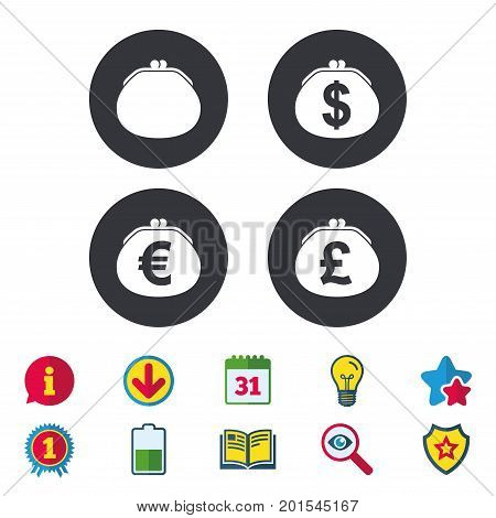 Wallet with Dollar, Euro and Pounds currency icons. Cash bag signs. Retro wealth symbol. Calendar, Information and Download signs. Stars, Award and Book icons. Light bulb, Shield and Search. Vector