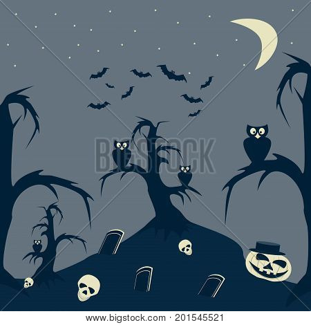 Halloween Night cartoon picture. Graves, grinning skulls and pumpkin on hill, owls on trees, flock of bats in starry sky