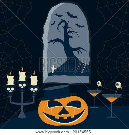 Halloween Night cartoon picture. Smiling pumpkin, candlesticks of human skulls and diabolical cocktails on table across from the window in sinister castle