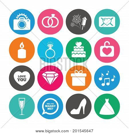 Set of Wedding and Engagement icons. Cake with heart, Gift box and Letter signs. Dress, Fireworks and Musical notes symbols. Colored circle buttons with flat signs. Vector
