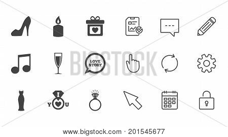 Wedding, engagement icons. Ring with diamond, gift box and music signs. Dress, shoes and champagne glass symbols. Chat, Report and Calendar line signs. Service, Pencil and Locker icons. Vector