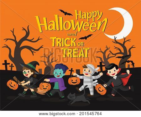 Happy Halloween. Children dressed in Halloween fancy dress to go Trick or Treating. Template for advertising brochure.