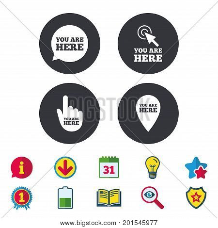You are here icons. Info speech bubble symbol. Map pointer with your location sign. Hand cursor. Calendar, Information and Download signs. Stars, Award and Book icons. Light bulb, Shield and Search