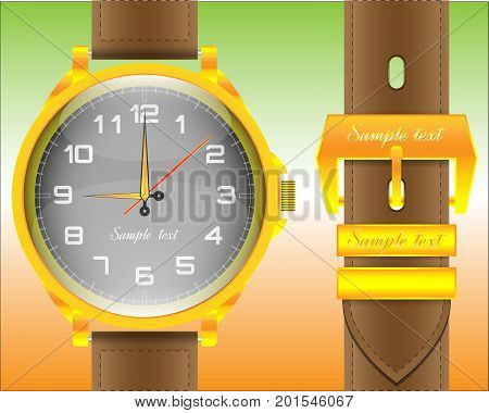Mechanical watch with leather strap and gold clasp on a multi-colored background
