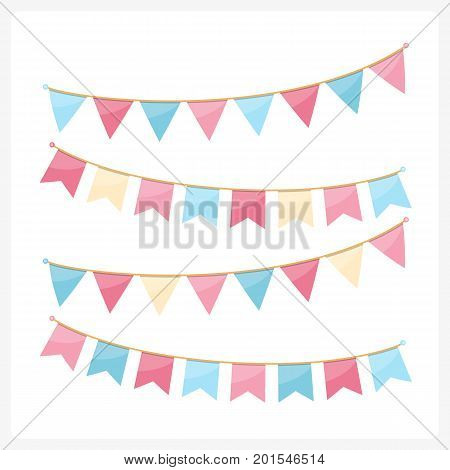 Colorful bunting for decoration of invitations, greeting cards etc, bunting flags, pink and blue colors, vector eps10 illustration