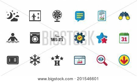 Hotel, apartment service icons. Washing machine. Wifi, air conditioning and swimming pool symbols. Calendar, Report and Download signs. Stars, Service and Search icons. Statistics, Binoculars and Chat