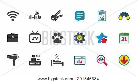 Hotel, apartment service icons. Wi-fi internet. Reception, pets allowed and hairdryer symbols. Calendar, Report and Download signs. Stars, Service and Search icons. Statistics, Binoculars and Chat