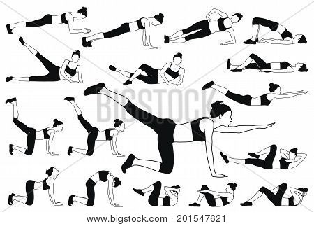 Set of vector silhouettes of young woman in sport dress doing stretching and different fitness exercises down on the floor.