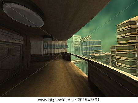 3D Rendering Futuristic City
