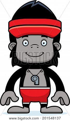 Cartoon Smiling Lifeguard Gorilla