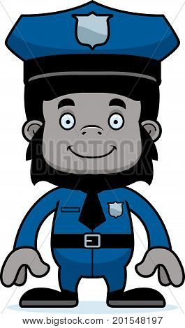 Cartoon Smiling Police Officer Gorilla