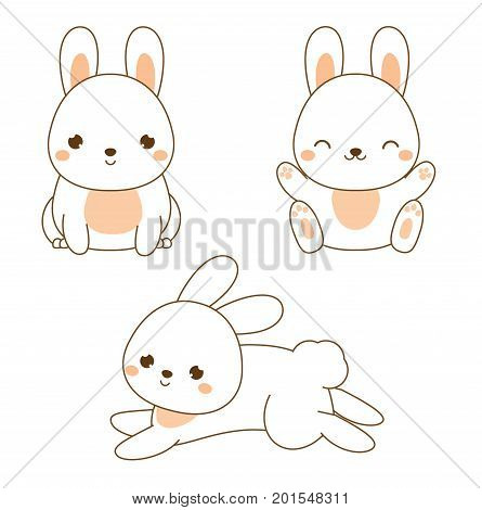 Cute rabbit. Kawaii Bunny. White hare sitting and jumping. Cartoon animal character for kids toddlers and babies fashion. Vector design elements