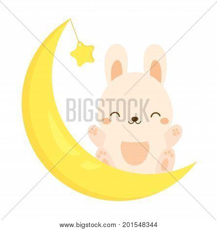 Cute rabbit sitting on the moon. Kawaii Bunny hare. Cartoon animal character for kids toddlers and babies fashion