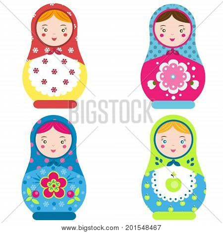 Matryoshka set. Traditional russian nesting dolls. Smiling Matreshka icon. Vector illustration clip art