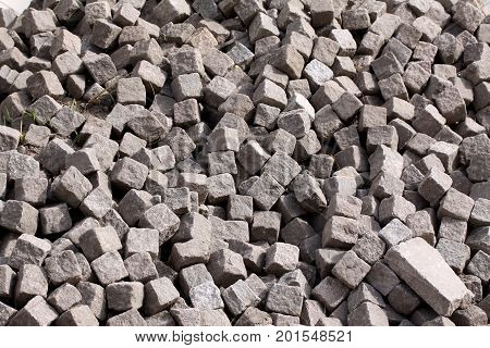 Big pile of cobble stones lying heater skelter