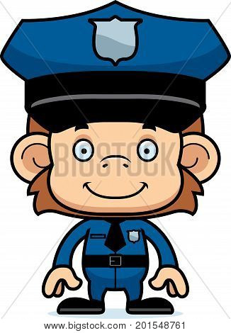 Cartoon Smiling Police Officer Monkey