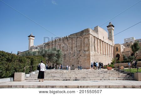 HEBRON ISRAEL - APRIL 12 2009: The Cave of Machpelah in Hebron or Tomb of the Patriarchs (Ma'arat HaMachpelah)