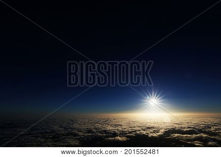 Sunrise over the Atlantic Ocean, seen from Pico volcano (2351m), Pico Island, Azores, Portugal, Europe