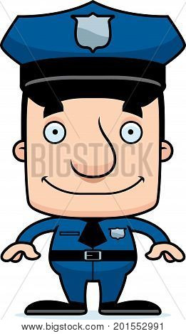Cartoon Smiling Police Officer Man