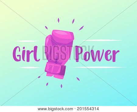 Feminism slogan with boxing slogan and lettering girl power. Vector stock ilustration