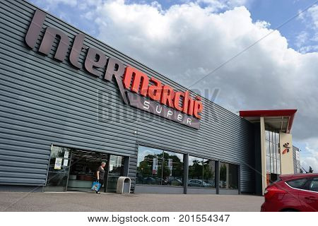 VERDUN, FRANCE - AUGUST 16, 2017: Intermarché is the brand of a general commercial French supermarket, part of the large retail group 'Les Mousquetaires'.