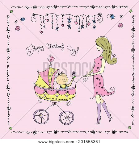Mother with baby in stroller, Happy Mother's Day card, stock vector illustration