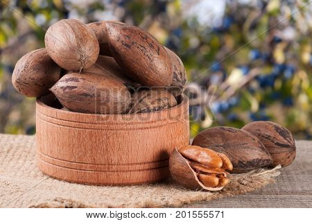 pecan nuts in a wooden bowl on the old board with blurred garden background.