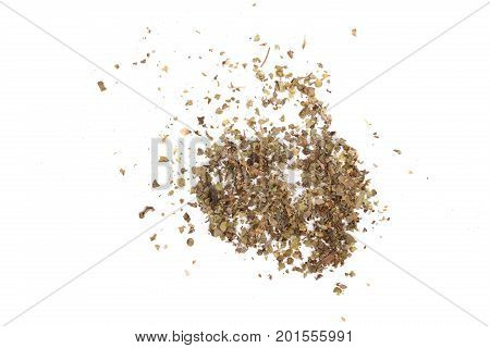 Dry ground marjoram isolated on white background, top view.