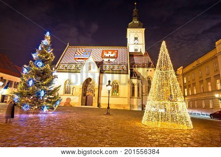 Zagreb Government Square Advent Evening View
