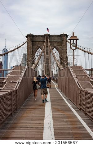 Looking Down the Walking and Biking Path on the Brooklyn Bridge
