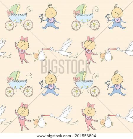 Seamless pattern with newborn babies, pram and stork, stock vector illustration