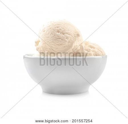 Bowl with delicious vanilla ice-cream on white background