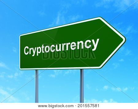 Currency concept: Cryptocurrency on green road highway sign, clear blue sky background, 3D rendering