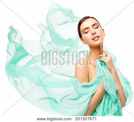 Woman Beauty Happy Model Face Makeup beautiful Girl in waving fabric eyes closed White Background