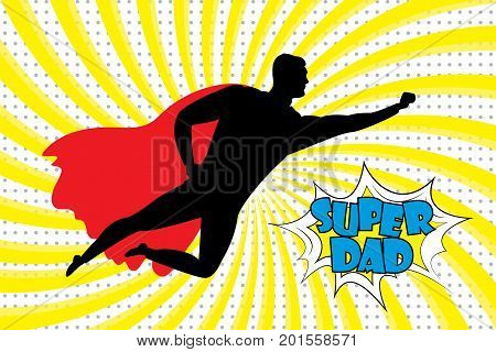 Silhouette of a flying superhero and super dad text in retro comic style .Stock vector illustration