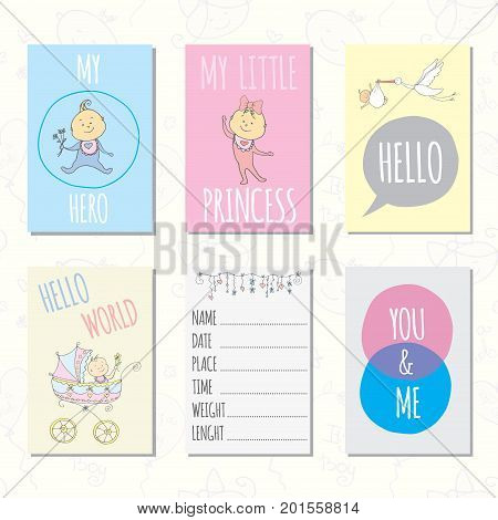 Set of journaling cards for newborn baby. Vector templates for scrapbooking, greeting or gift cards, patterns, art decoration