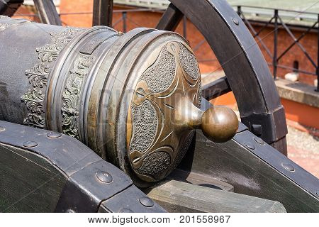 Old cannon in museum at Kosciuszko mound in Krakow (Poland)