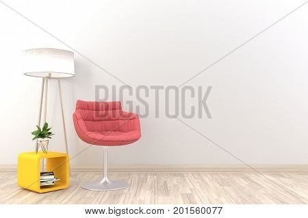 White living room interior with red armchair,lamp and plants on empty white wall background.3d rendering