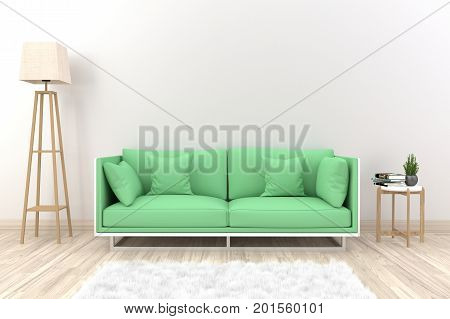White living room interior with green fabric sofa ,lamp and plants on empty white wall background.3d rendering