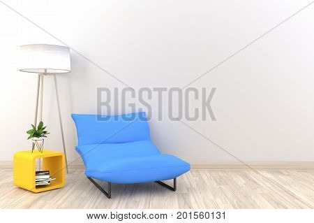 White living room interior with light blue fabric armchair ,lamp and plants on empty white wall background.3d rendering