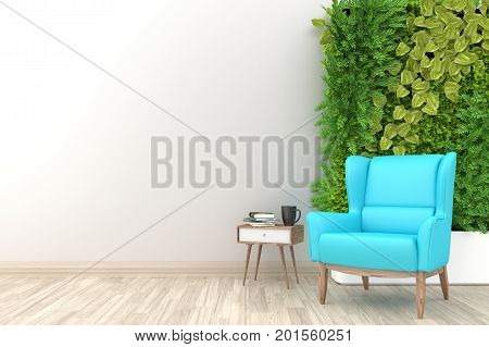 White living room interior with light blue fabric armchair ,coffee cup and plants on empty white wall background.3d rendering