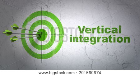 Success finance concept: arrows hitting the center of target, Green Vertical Integration on wall background, 3D rendering