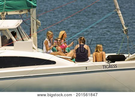 SAN DIEGO, CALIFORNIA, JUNE 9: San Diego Bay on June 9, 2017, in San Diego ,California. A Bachelorette Party Aboard the Tigress Fun Cat Catamaran in San Diego Bay in San Diego.