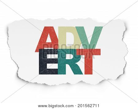 Advertising concept: Painted multicolor text Advert on Torn Paper background